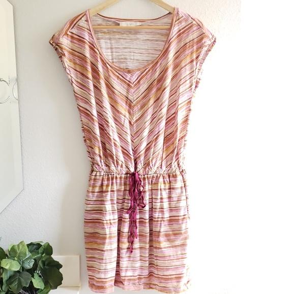 LOFT Dresses & Skirts - 🦋 LOFT tan purple beach drawstring dress